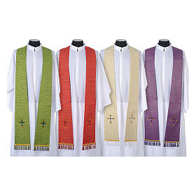 Liturgical stole in lurex, cross with glass stones s1