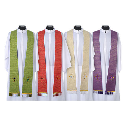 Liturgical stole in lurex, cross with glass stones 1