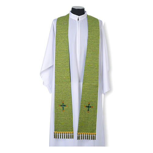 Liturgical stole in lurex, cross with glass stones 2