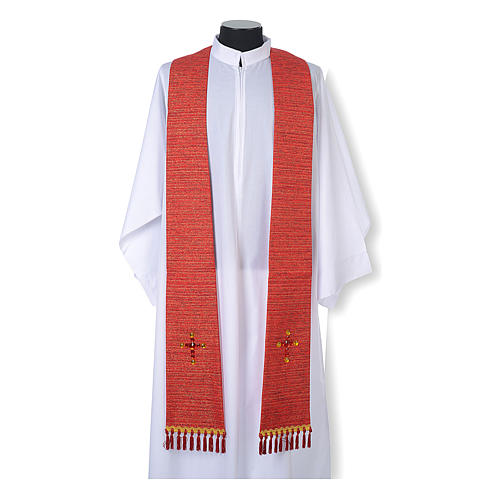 Liturgical stole in lurex, cross with glass stones 3