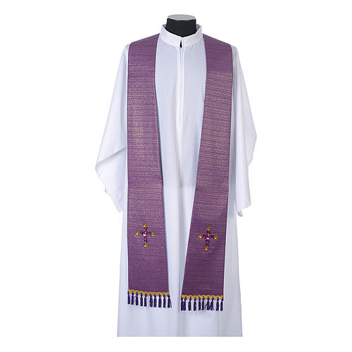 Liturgical stole in lurex, cross with glass stones 5