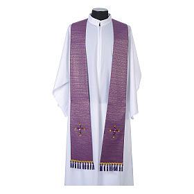 Étole liturgique lurex croix avec pierres en verre s5