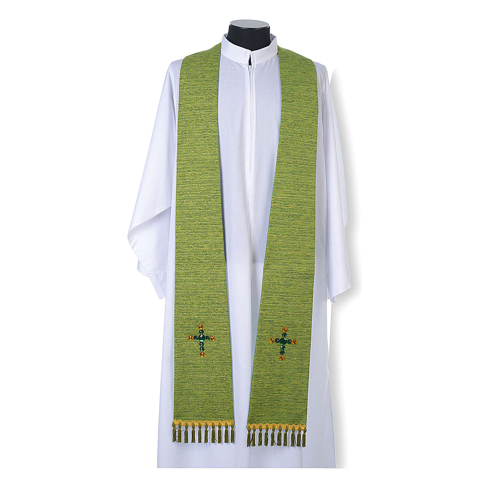 Religious Stole in lurex, cross with glass stones 4