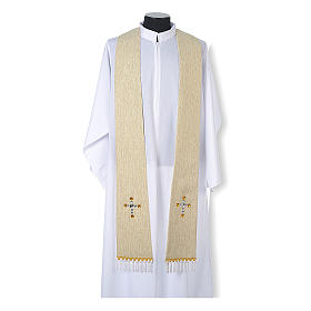 Religious Stole in lurex, cross with glass stones s4