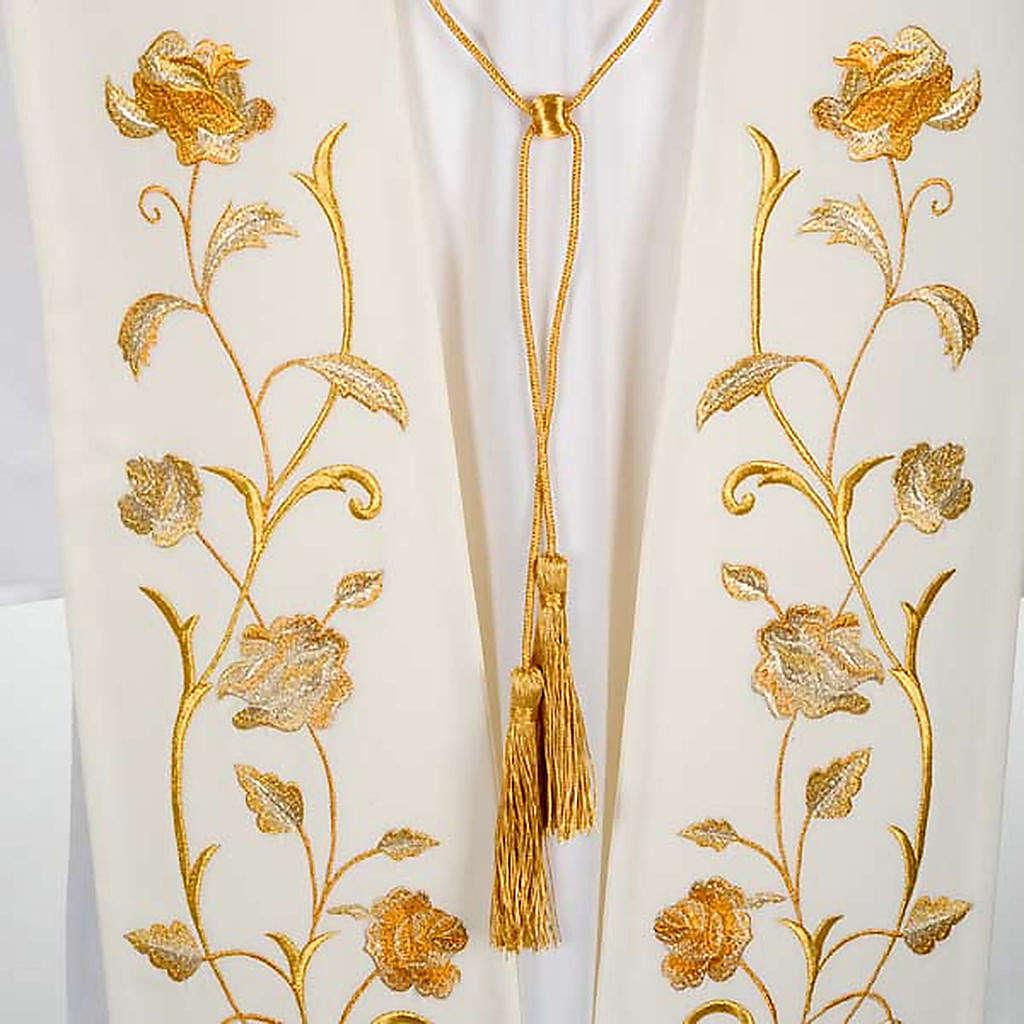 Étole blanche fleurs dorées 4