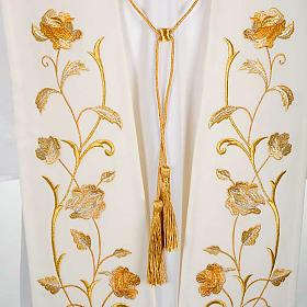 Stuła biała kwiaty złote s2