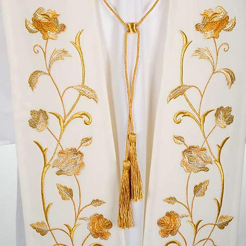 Stuła biała kwiaty złote 2