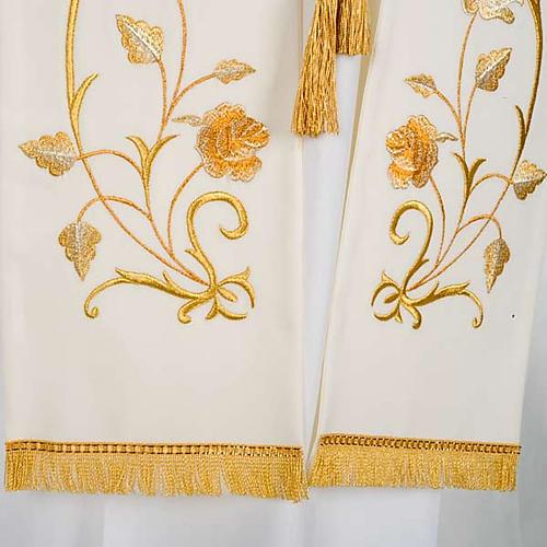 Stuła biała kwiaty złote 3