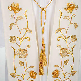 White Clergy Stole gold flowers s2
