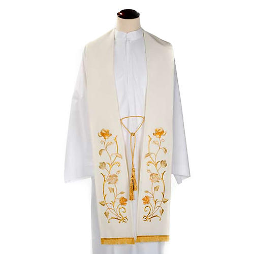 White Clergy Stole gold flowers 1