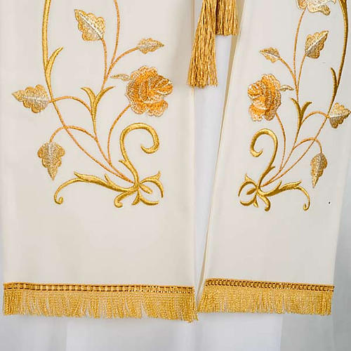 White Clergy Stole gold flowers 3