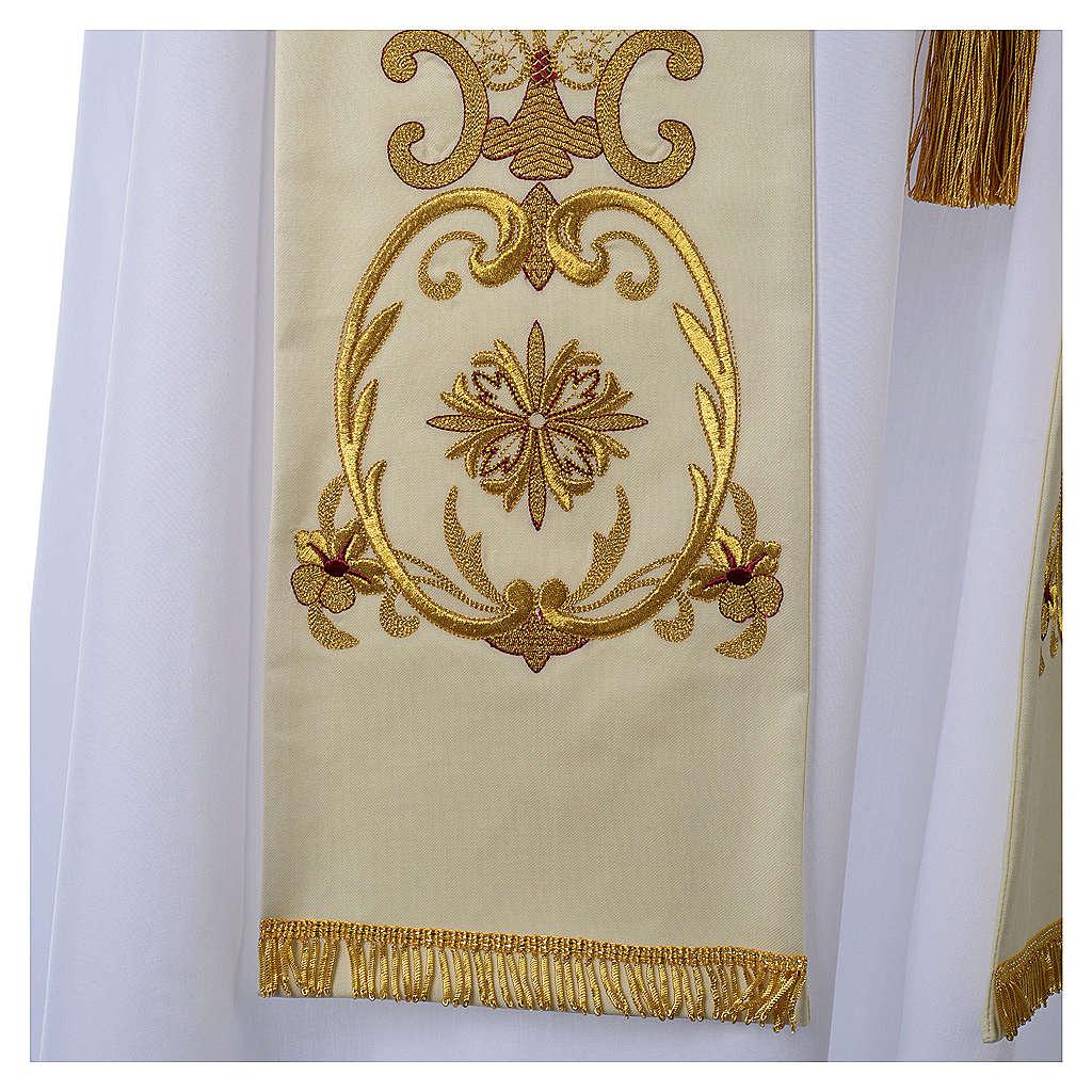 Stola bianca ricamo oro antico lana 4
