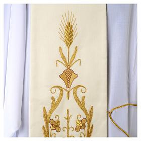 Stola bianca ricamo oro antico lana s2