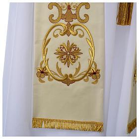 Stuła biała haft złoty wełna s3
