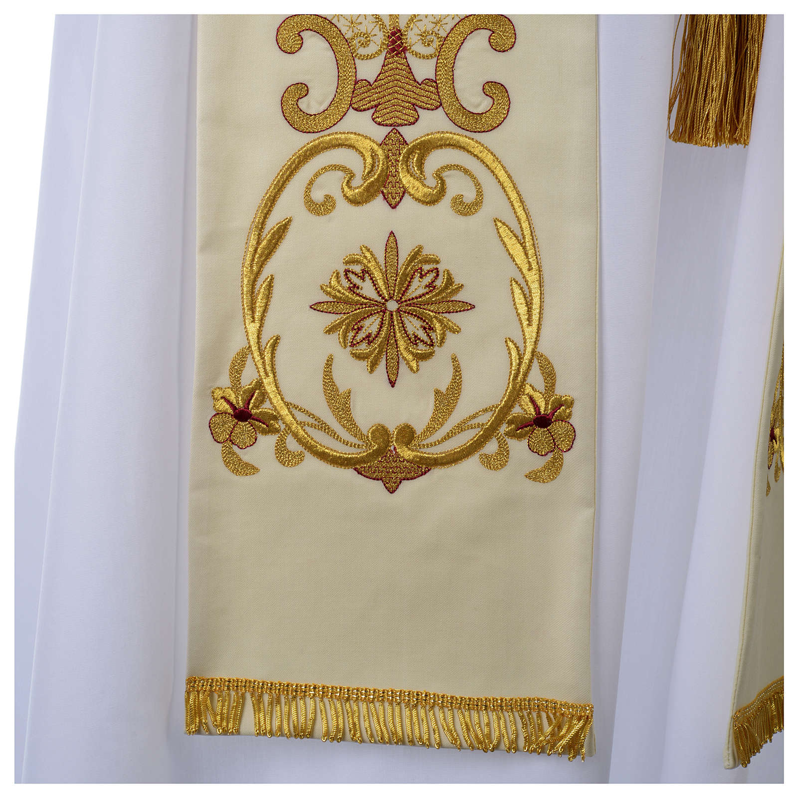 Wool White Clergy Stole with gold embroideries ancient style 4