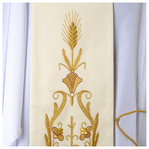Wool White Clergy Stole with gold embroideries ancient style 2