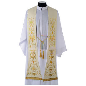 Priest stoles and Deacon stoles: White stole in wool, ancient style embroideries