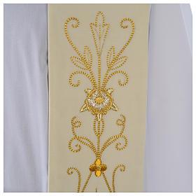 Stola bianca ricamo oro antico pura lana s3