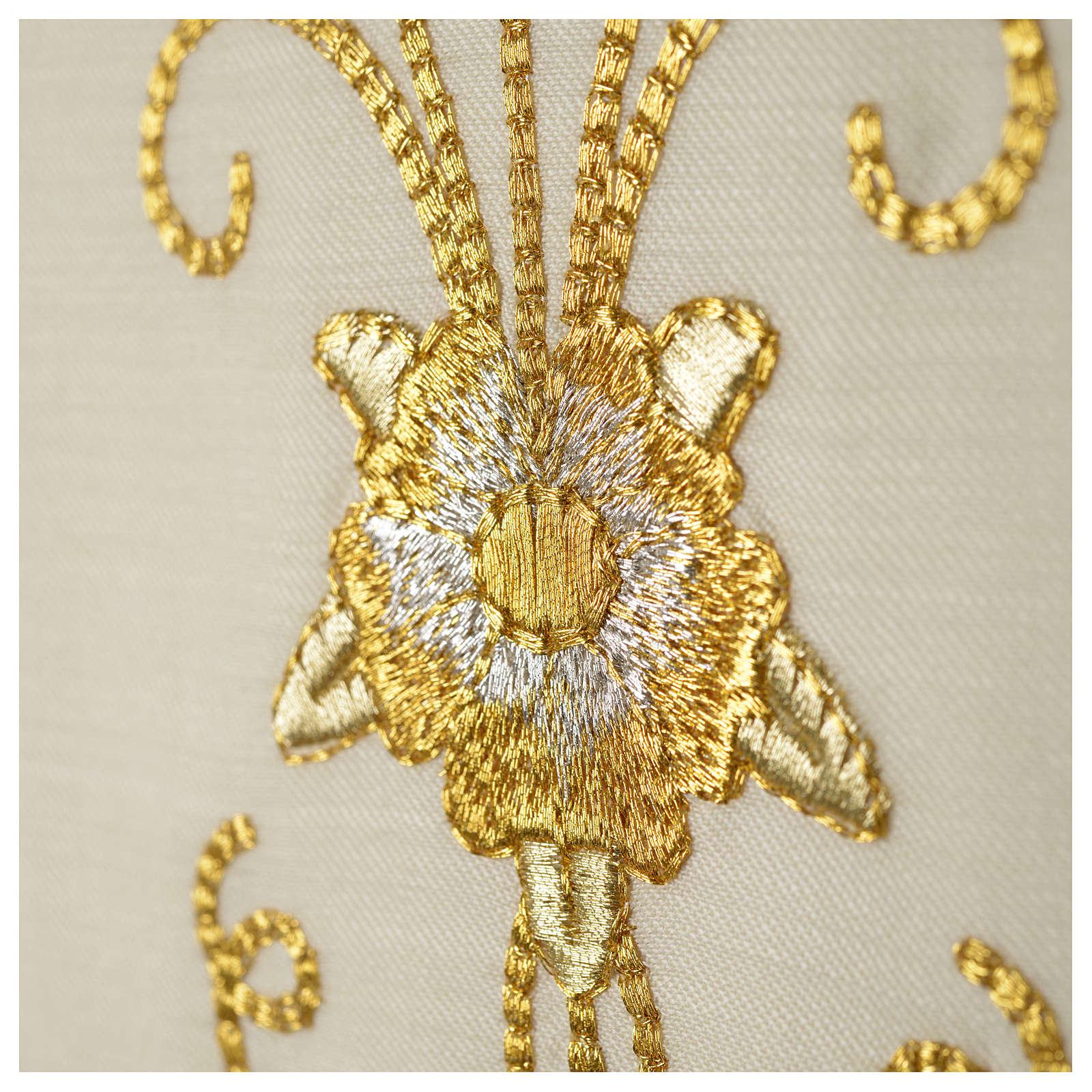 Stuła biała starożytny złoty haft czysta wełna 4