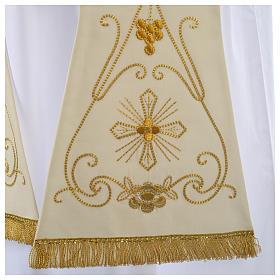 Stuła biała starożytny złoty haft czysta wełna s2