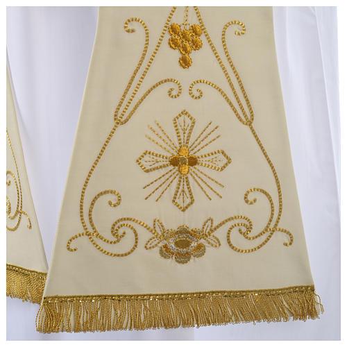 Stuła biała starożytny złoty haft czysta wełna 2