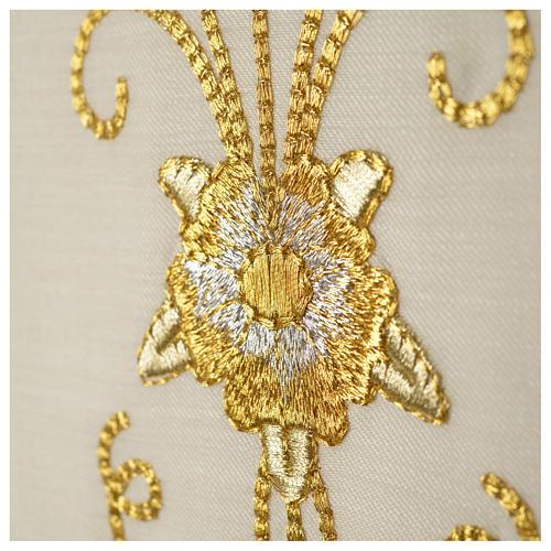 Stuła biała starożytny złoty haft czysta wełna 5