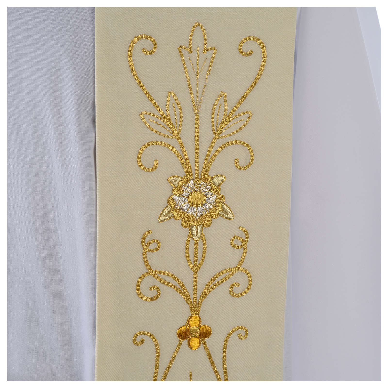 White Clergy Stole in wool, ancient style embroideries 4