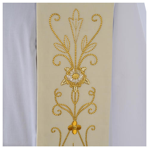 White Clergy Stole in wool, ancient style embroideries 3