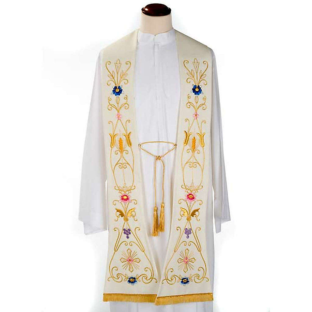 White stole in wool, ancient style embroideries colored 4