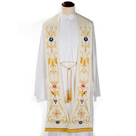 White stole in wool, ancient style embroideries colored s1