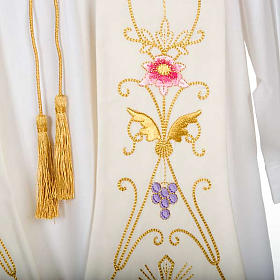 White stole in wool, ancient style embroideries colored s4