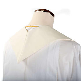 Étole blanche broderies colorées style ancien lain s6