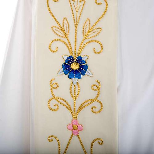Étole blanche broderies colorées style ancien lain 2