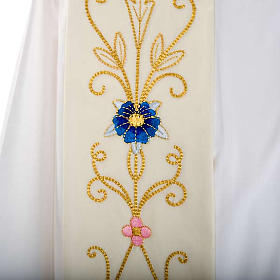White Priest Stole in wool, ancient style embroideries colored s2