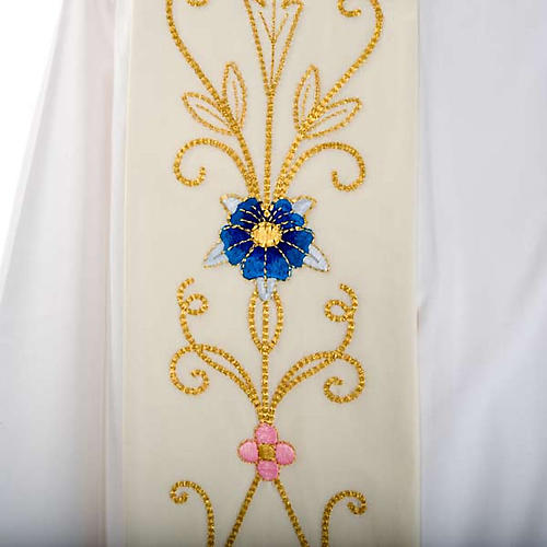 White Priest Stole in wool, ancient style embroideries colored 2