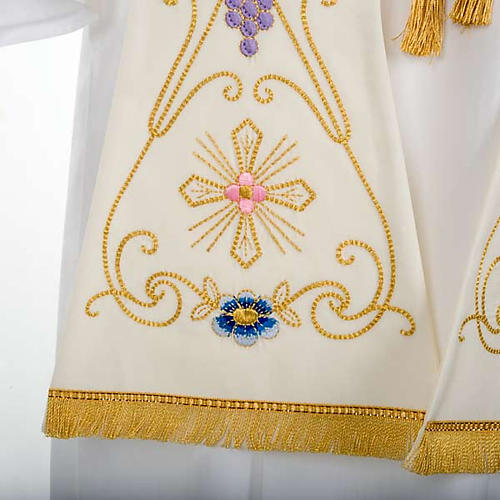 White Priest Stole in wool, ancient style embroideries colored 5