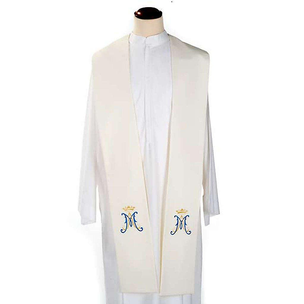 Stola bianca simbolo mariano blu 4