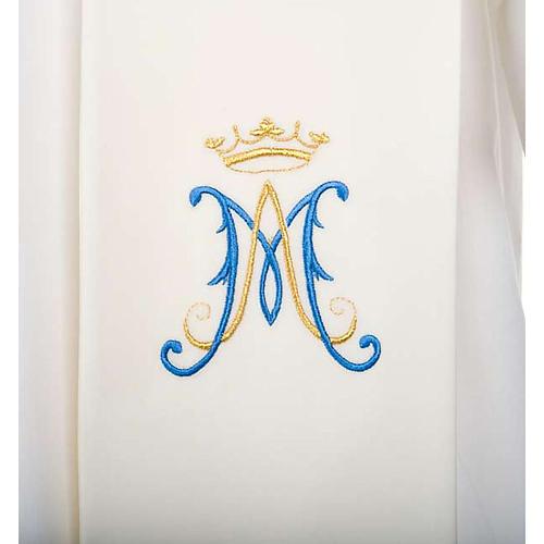 Stola bianca simbolo mariano blu 2