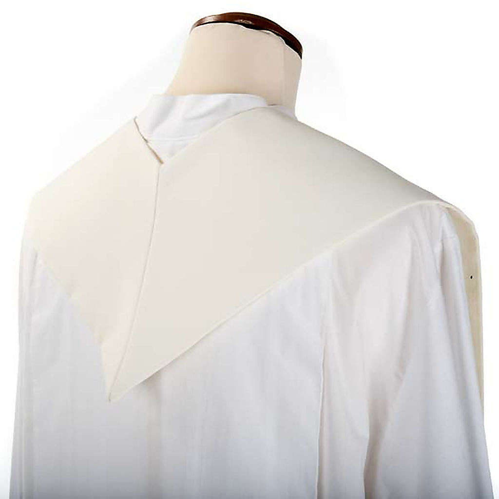 Clergy Stole, white with blue Marian symbol 4