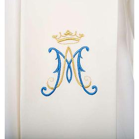 Clergy Stole, white with blue Marian symbol s2