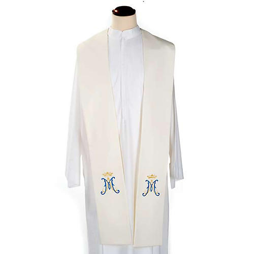 Clergy Stole, white with blue Marian symbol 1