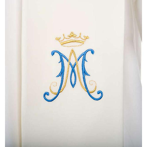 Clergy Stole, white with blue Marian symbol 2