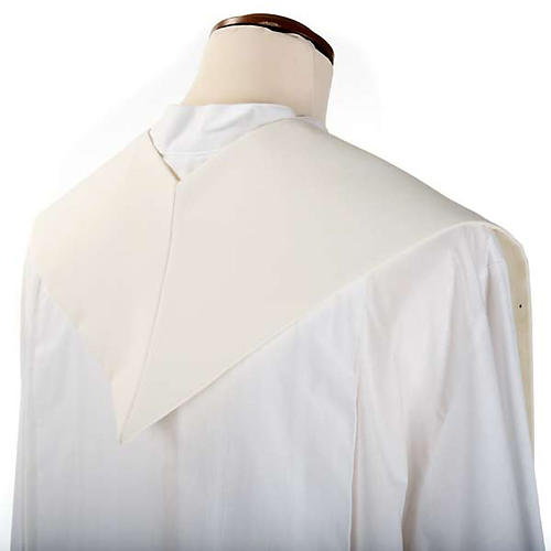 Clergy Stole, white with blue Marian symbol 3
