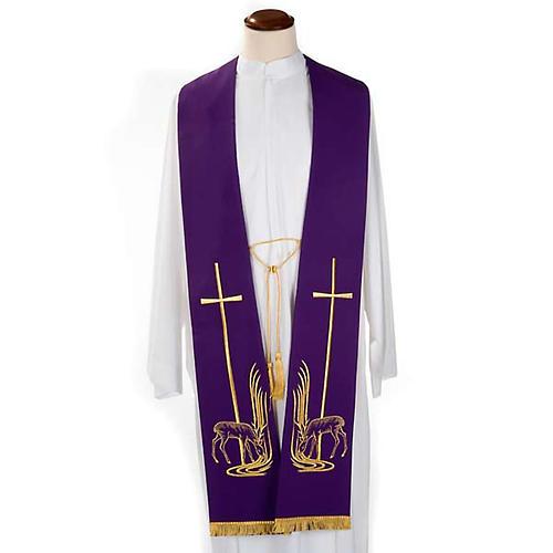 Étole liturgique cerfs au ruisseau et croix 1