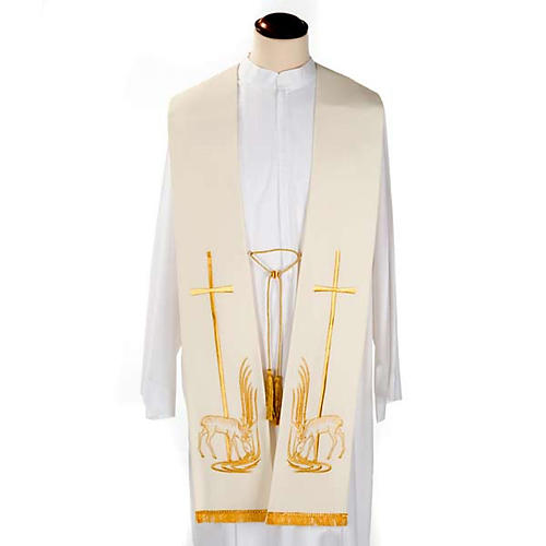 Étole liturgique cerfs au ruisseau et croix 2