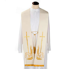 Clergy Stole with deer at the water stream and cross s2