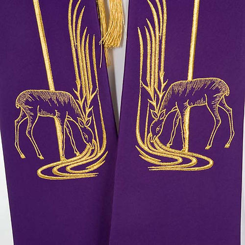 Clergy Stole with deer at the water stream and cross 3