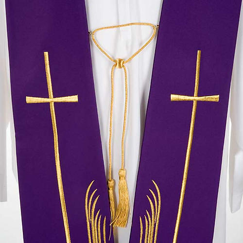 Clergy Stole with deer at the water stream and cross 5