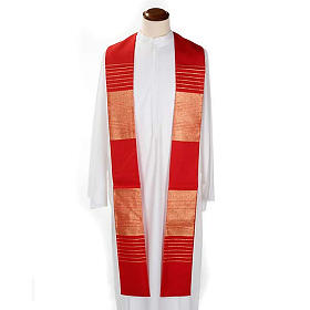 Liturgical stole in wool with golden stripes s2