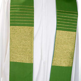 Liturgical stole in wool with golden stripes s5